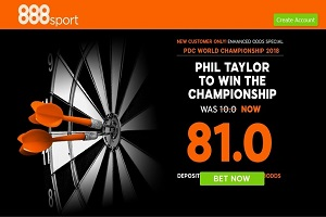 PDC World Darts: Get a Colossal 80/1 on Phil Taylor with 888Sport